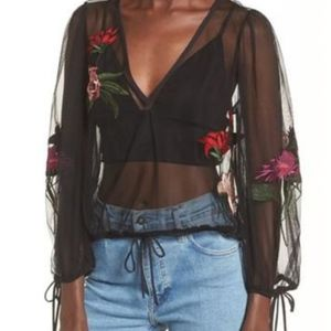 "Lovers + Friends ""Lillian"" Embroidered Top"